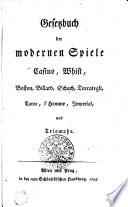 Gesetzbuch Der Modernen Spiele Casino Whist Boston Billard Schach Toccategli Taroc L Homme Jmperial Und Triomphe