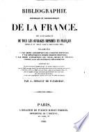 Bibliographie historique et topographique de la France
