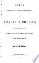 Actes Pass  s    la Session de la L  gislature de L   tat de la Louisiane
