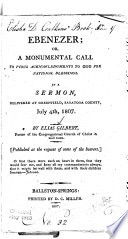 Ebenezer Or A Monumental Call To Pious Acknowledgements To God For National Blessings