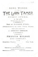 Song Words of The Lion Tamer