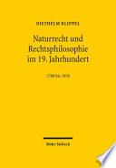 Naturrecht Und Rechtsphilosophie Im 19. Jahrhundert