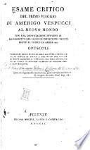 Esame critico del primo viaggio di Amerigo Vespucci al Nuovo mondo