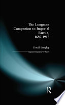 Longman Companion to Imperial Russia  1689 1917