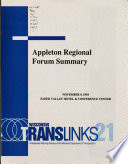 Appleton Regional Forum Summary, November 9, 1993, Paper Valley Hotel & Conference Center