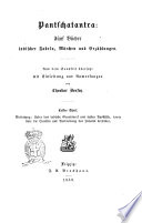 Pantschatantra f  nf B  cher indischer Fabeln  M  rchen und Erzahlungen aus dem Sanskrit   bersetzt mit Einleitung und Anmerkungen