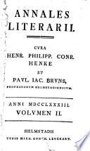 Annales Literarii Cura H P C Henke And Others Ian 1782 Ian 1789
