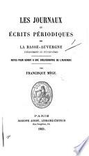 Les Journaux et Écrits périodiques de la Basse-Auvergne, etc