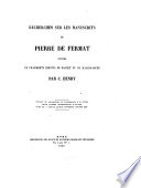 Recherches Sur Les Manuscrits de Pierre de Fermat