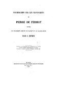 Recherches Sur Les Manuscrits de Pierre de Fermat Suivies de Fragments Inedits de Bachet Et de Malebranche