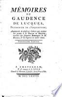 M Moires De Gaudence De Lucques Prisonnier De L Inquisition