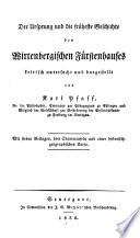Der Ursprung und die früheste Geschichte des Wirtenbergischen Fürstenhauses