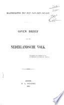 Open brief aan het Nederlandsche volk