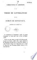 Corrections et additions à la thèse de littérature sur le roman de Roncevaux, soutenue le 23 juillet 1832