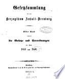Gesetzsammlung für das Herzogthum Anhalt-Bernburg