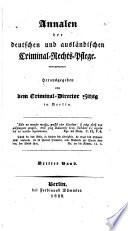 Annalen der deutschen und ausländischen Criminal-Rechts-Pflege
