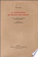 La Giovinezza Di Giulio Salvadori Dalla Stagione Bizantina Al Rinnovamento