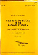 Questions And Replies Of The National Assembly
