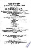 Geschlecht-Register des ... Fürsten ... Christian, Hertzogen zu Sachsen, Gülich, Cleve und Berg, etc