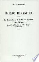 Balzac, Romancier
