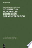 Studien zum romanisch deutschen Sprachvergleich