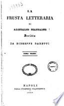 La frusta letteraria di Aristarco Scannabue scritta da Giuseppe Baretti