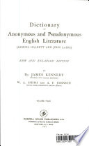 Dictionare Of Anonymous And Seudonmous English Literature : ...