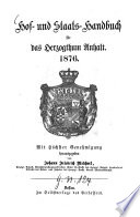Hof- und Staats-Handbuch für das Herzogtum Anhalt
