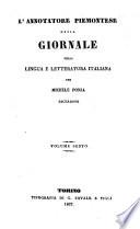 L Annotatore piemontese ossia Giornale della lingua e letteratura italiana per Michele Ponza