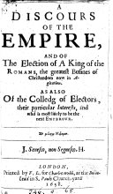 download ebook a discours of the empire, and of the election of a king of the romans [by] j.h. pdf epub