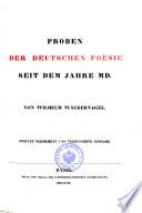 Proben Der Deutschen Poesie Seit Dem Jahre MD