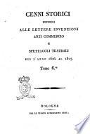 Cenni storici intorno alle lettere  invenzioni  arti  commercio e spettacoli teatrali