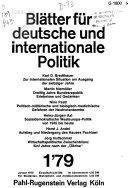 Bl  tter f  r deutsche und internationale Politik