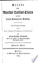 Briefe des Markus Tullius Cicero an den Titus Pomponius Attikus