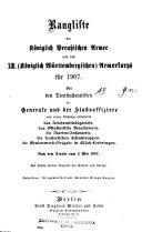 Rangliste der Koeniglich Preussischen Armee und des XIII
