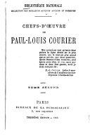 Chefs d'oeuvre de Paul-Louis Courier