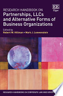 Research Handbook On Partnerships Llcs And Alternative Forms Of Business Organizations