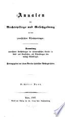Annalen für Rechtspflege und Gesetzgebung in den preußischen Rheinprovinzen