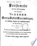 Leichenrede bei der Beerdigung des weiland Tit. Herrn Georg Jakob Nieremberger, der Heilkunde Doktors und ausübenden Arztes zu Regensburg