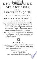 Dictionnaire des Richesses de la langue Françoise