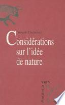 illustration du livre Considérations sur l'idée de nature