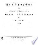 Intelligenzblatt der Königlich Bayerischen Stadt Nördlingen