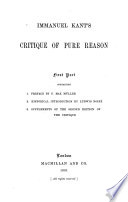 The Critique of pure reason as illustrated by a sketch of the development of occidental philosophy, by Ludwig Noiré
