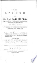 The Speech of Sir Elijah Impey     Delivered by Him at the Bar of the House of Commons  on the Fourth Day of February  1788