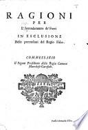 Ragioni Per L Arrendamento De Ferri In Esclusione Delle Pretensioni Del Regio Fisco Etc
