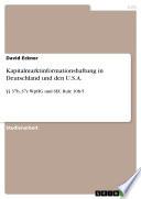 Kapitalmarktinformationshaftung in Deutschland und den U.S.A.
