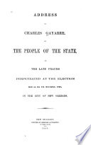 Address of Charles Gayarré, to the People of the State