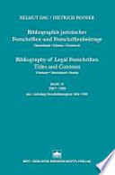 Bibliographie juristischer Festschriften und Festschriftenbeiträge