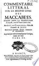 Commentaire littéral sur le second livre des maccabées