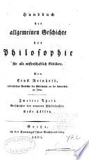 Handbuch der allgemeinen Geschichte der Philosophie f  r alle wissenschaftlich Gebildete